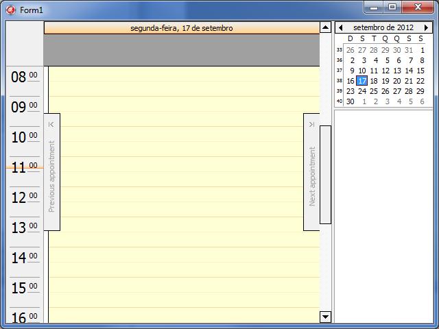cxScheduler básico na tela