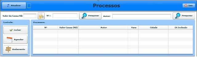 Painel de controle e grid de processos