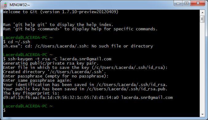 Criando a SSH Key a partir do Gitbash