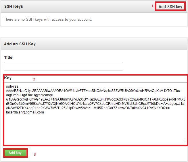 Informando a SSH Key no site