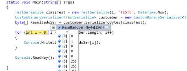 Avaliação do código em execução