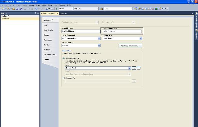 Alterando a namespace padrão do projeto HelloWorldService