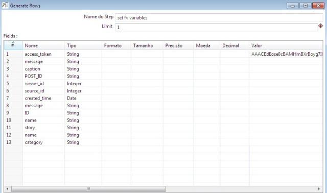 Detalhes do componente Generate Rows