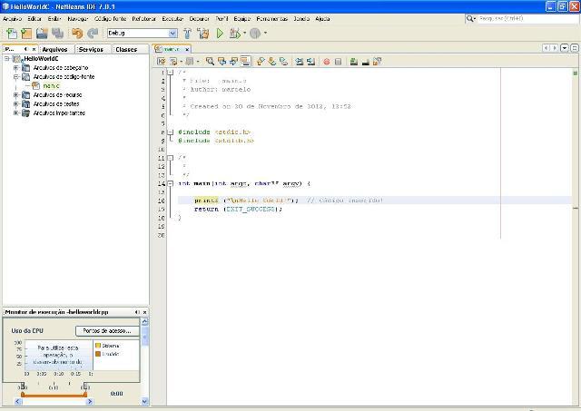 Codificando no NetBeans um programa C