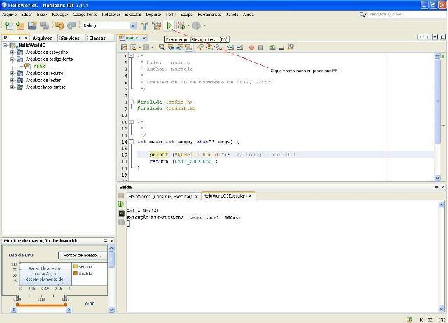 Programa Hello World em execução
