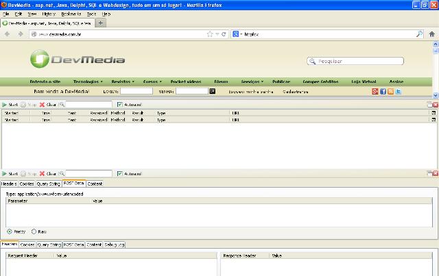 Interface do HttpFox