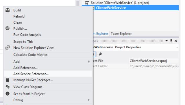 Adição de referência para o Web Service no projeto consumidor do serviço