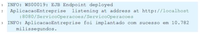 Resultado da implantação do Web Service no servidor de aplicação Glassfish