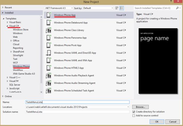 Criação do projeto para Windows Phone no Visual Studio