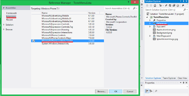 Adicionando a referência à DLL Microsoft.Phone.Controls.Toolkit
