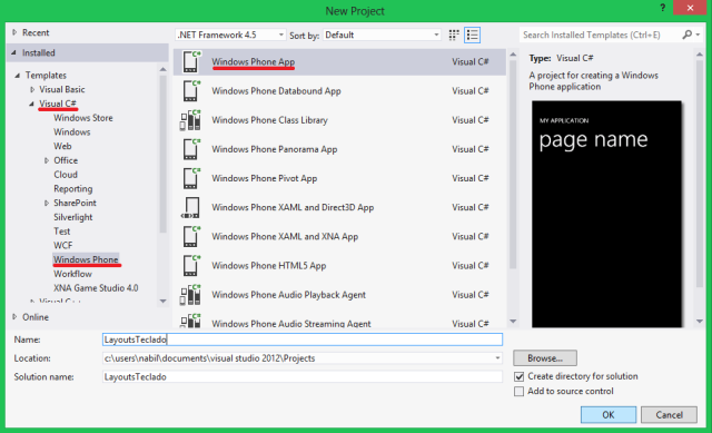Criando novo projeto no Visual Studio 2012