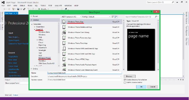 Criação do Projeto ConsumindoWebClient no Visual Studio