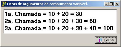 Executando a aplicação na utilização de listas de argumentos de comprimento variável