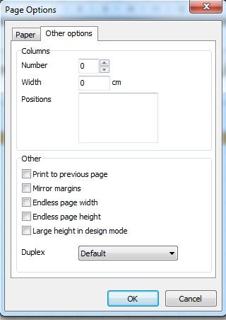 Opções de Página (Outras Opções)