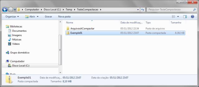 Arquivo .zip que foi gerado a partir do método CreateFromDirectory