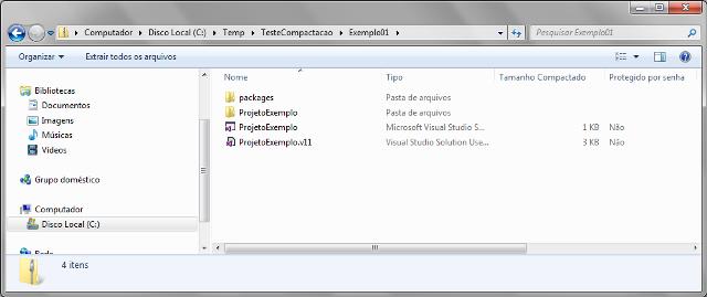 Visualizando o conteúdo do arquivo .zip gerado via método CreateFromDirectory
