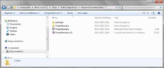 Conteúdo de arquivo .zip descompactado via método ExtractToDirectory