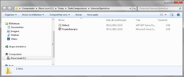 Arquivos descompactados por meio das classes ZipFile, ZipArchive e ZipArchiveEntry