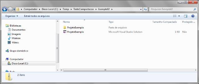 Arquivos criado através das classes ZipFile e ZipArchive
