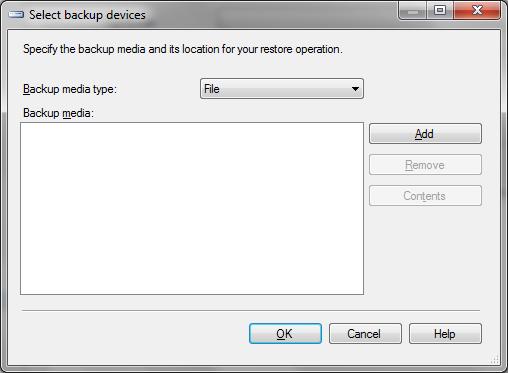 Janela Select backup devices