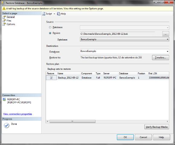 Janela Restore Database com o arquivo de backup já selecionado
