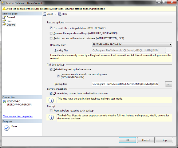 Janela Restore Database com outras opções de restauração já configuradas