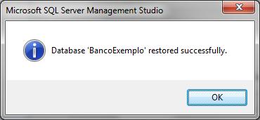 Mensagem que indica que o processo de restore foi finalizado com sucesso