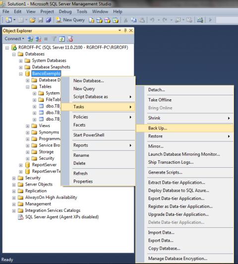 Acionando a opção que faz o backup de uma base de dados