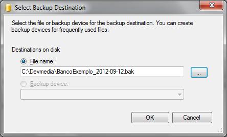 Janela Select Backup Destination com o caminho do backup já definido