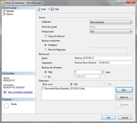 Janela Back Up Database com todas as configurações já preenchidas