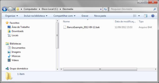 Arquivo de backup criado no diretório especificado anteriormente