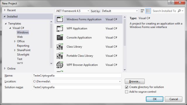 Criando um projeto Windows Forms para testes
