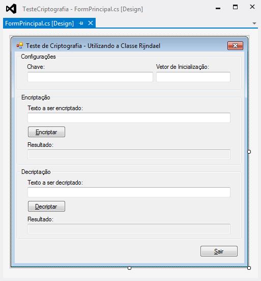Formulário FormPrincipal em modo Design com todos os controles já configurados