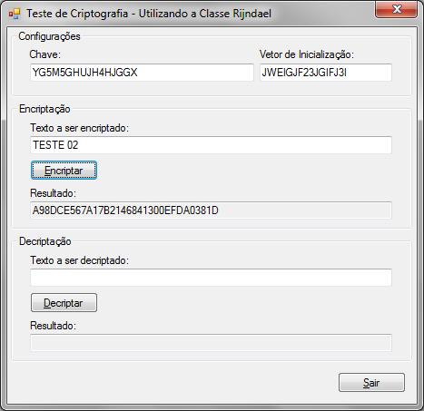Executando um segundo teste de criptografia