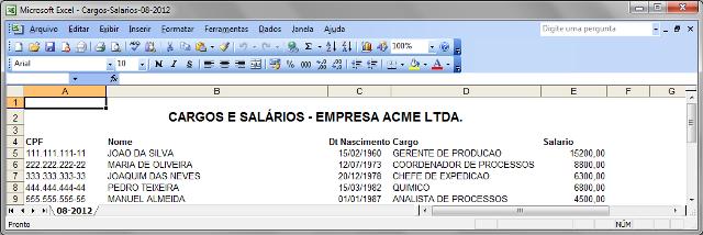 Arquivo do Excel com cabeçalho que precisaria ser removido