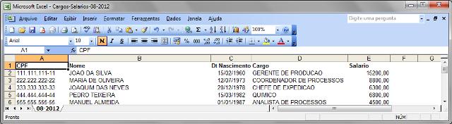 Arquivo do Excel após ajustes