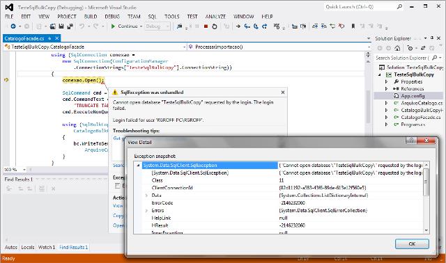 Visualizando informações sobre uma SqlException a partir do Visual Studio