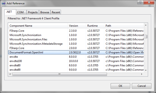 Adicionando ao projeto uma referência à biblioteca DocumentFormat.OpenXML.dll