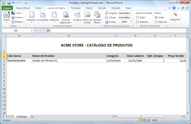 Criando o arquivo de modelo Template_CatalogoProdutos.xlsx