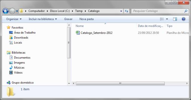 Arquivo .xlsx com informações do catálogo de produtos