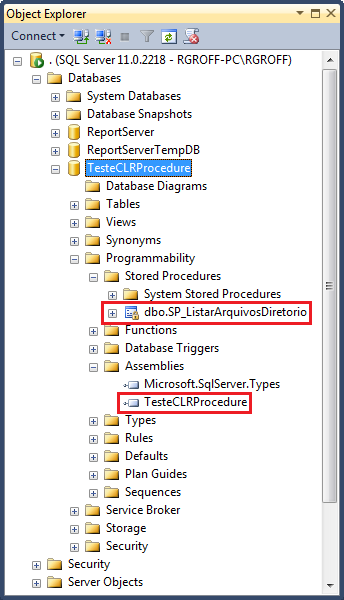 Stored procedure SP_ListarArquivosDiretorio já configurada