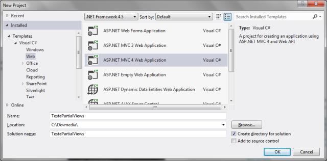Figura 1: Criando um projeto ASP.NET MVC 4 para testes
