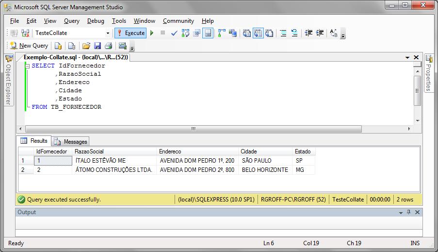 Execução de instrução SQL sem o uso de COLLATE