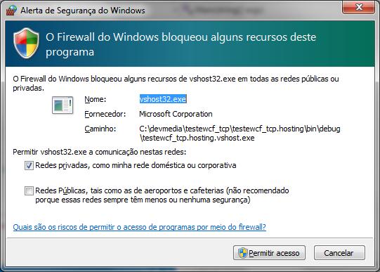 Liberando o acesso à aplicação WCF via Firewall do Windows