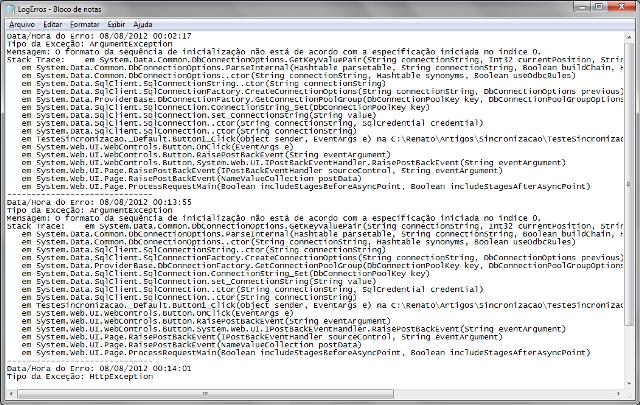 Exemplo de log gerado através do método RegistrarExcecao