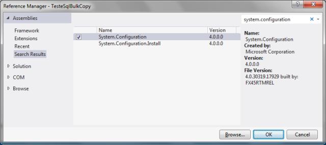 Adicionando ao projeto uma referência à biblioteca System.Configuration