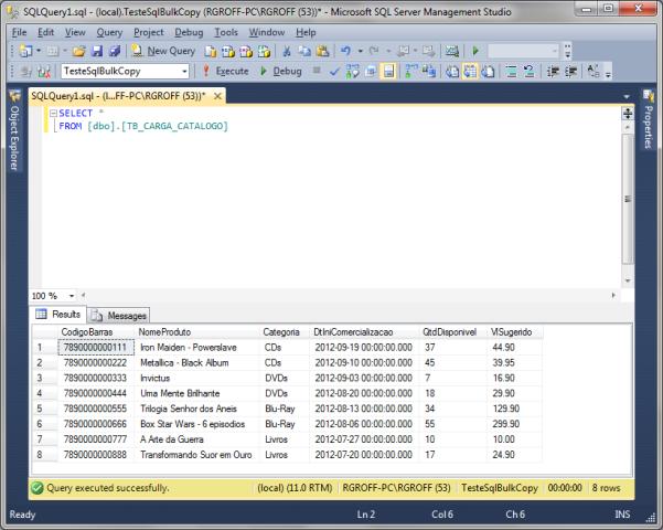 Consultando a tabela TB_CARGA_CATALOGO após a execução da aplicação TesteSqlBulkCopy