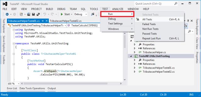 Menu Test no Visual Studio 2012