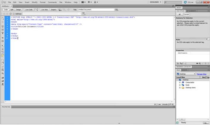 Tela do Dreamweaver com o texto em HTML