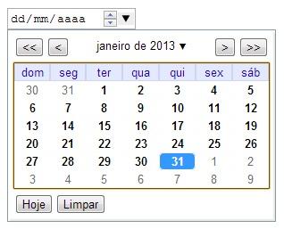 Html Calendario.Novos Tipos De Input Da Html 5